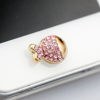 Cute Rhinestone Clownfish Home Button Sticker for iPhone 4 4s 5 5s = 1651262724