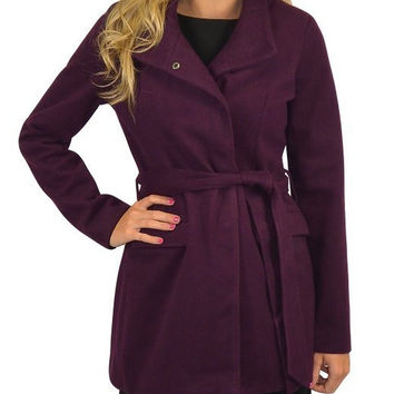 BB Dakota Cecil Plush Tie Waist Coat (purple)