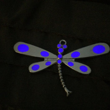 Glow in the dark necklace , Glow in the dark jewelry , Glowing Necklace , Dragon Fly Necklace ,  womens necklace , Gift Idea