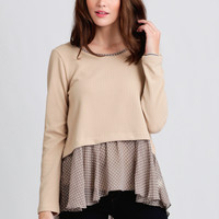 Sweet Ballad Polka Dot Sweater In Beige