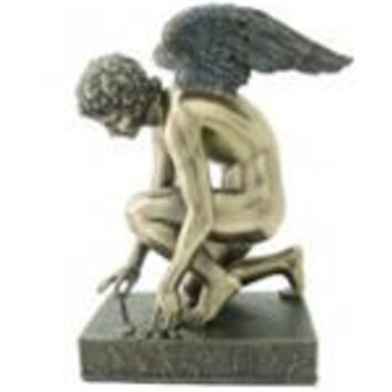 Cupid and Psyche as Butterfly Statue, Bronze Finish