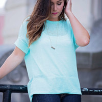 Oversize Me Mint Cuff Tee