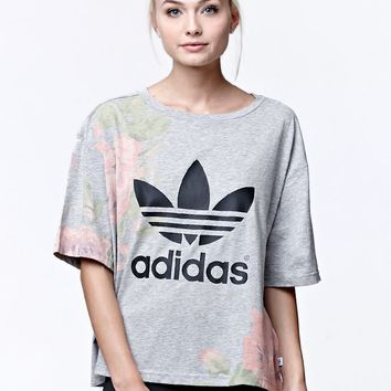Adidas Pastel Rose Logo Short Sleeve T-Shirt - Womens Tee - Multi - Medium