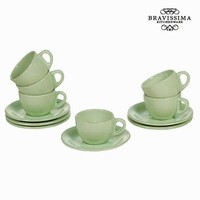 Set of 6 green cup and saucers - Kitchen's Deco Collection by Bravissima Kitchen