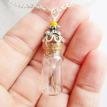 Dandelion Seed Corked Glass Terrarium Vial & Yellow Crystal Necklace, Bridesmaid Gifts, Hipster Jewelry