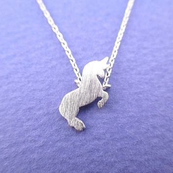 Minimal Unicorn Silhouette Shaped Pendant Necklace in Silver