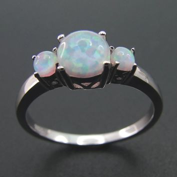 Fine Jewelry Round Cut Fire Opal 100% 925 Sterling Silver Ladies Wedding Party Ring Size 5/6/7/8/9/10/11