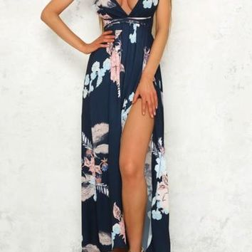 Navy Blue Tie Back Backless Slit Side Off Shoulder Bohemian Maxi Dress