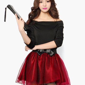 Bow Tie Waist and Overlay Mesh Skater Mini Skirt