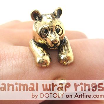Large Panda Bear Animal Wrap Around Hug Ring in Shiny Gold - Size 4 to 9 Available