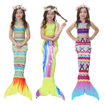 Girls Clothing Sets 2018 New Summer Little Mermaid Tail Bikini Suits Swim Costume Clothing Sets 3PCS For 3-12 Years