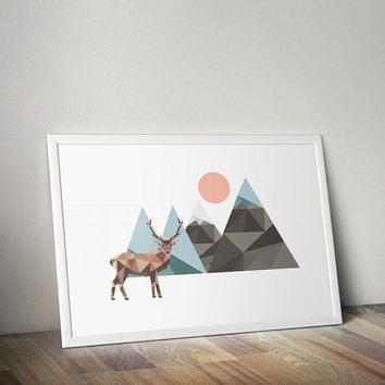 Stag Low Poly Art, Geometric Digital Download Print, Deer Print, Mountain Print, Wilderness Art Print, Stag Illustration, Full Moon, Alaska