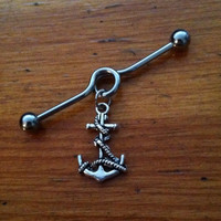 Industrial Barbell - Silver Anchor Industrial Barbell - Anchor and Rope Industrial Piercing
