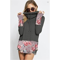 Floral Print Cowl Neck Top - Charcoal and Mauve