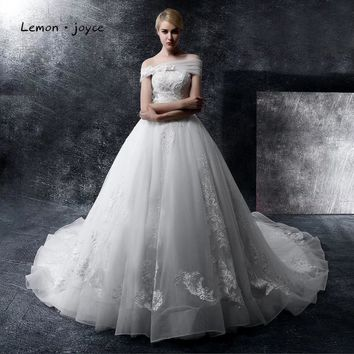 Luxury Appliques Beading Wedding Dresses 2017 New Off-shoulder Ball Gown Puffy Bridal Gowns Vestido De Noiva