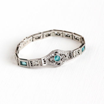 Antique Sterling Silver & Simulated Aquamarine Filigree Panel Bracelet - Vintage 1920s Art Deco Teal Blue Glass Stone Flower Simmons Jewelry