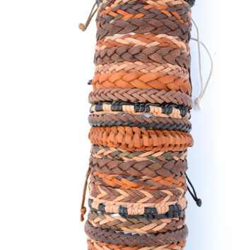 Leather Woven Bracelet - Brown