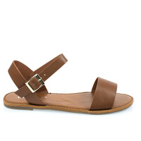dotty1 Tan By Bonnibel, open toe flat sandal w adjustable ankle strap