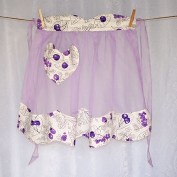 Vintage Chiffon Half Apron, purple with berry print trim, loveheart pocket scalloped border, gorgeous shabby chic vintage cafe hostess apron
