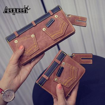 AEQUEEN Women Wallet Zipper With Coin Pockets New Fashion Denim Wallets Female Cluches Card Holders Wallet Retro Jeans Purses