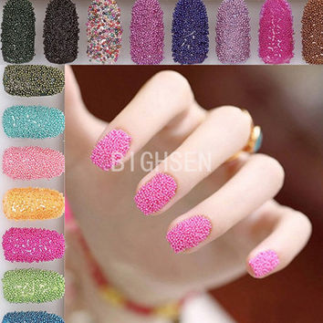 Mixed 12 Color Tiny Bottle Set Caviar Nails Decoration Round Beads Rhinestones 3D DIY Colorful Bead Nail Art Decorations BRH0007