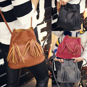 2016 New Ladies fringed bucket shoulder bag #L09628