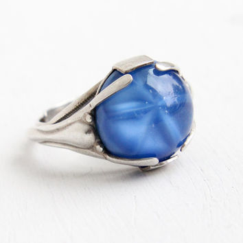 Vintage Art Deco Sterling Silver Simulated Star Sapphire Ring - 1930s Adjustable Statement Blue Glass Stone Cabochon Jewelry