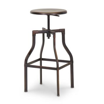 Baxton Studio Architect's Industrial Bar Stool in Antiqued Copper Set of 1
