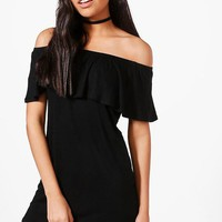 Izzy Off The Shoulder Ruffle Shift Dress | Boohoo