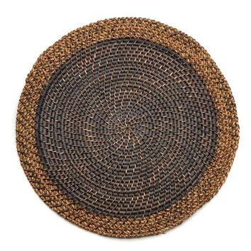 Shaded Rattan Placemat - S/2 Black