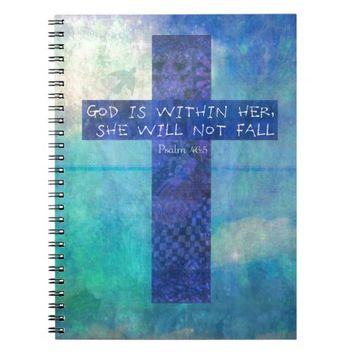 God is within her uplifting Bible verse Psalm 46:5 Spiral Notebooks