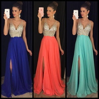 Straps V-Neck Prom Dress,Beading Sparkle Prom Dresses,Evening Dresses