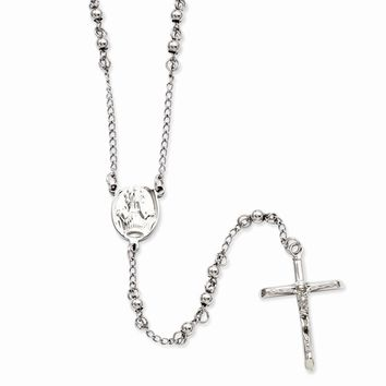 Men's Stainless Steel 4mm Bead Rosary Necklace