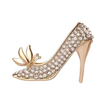 Beautiful Fashion Crystal Shoes Rhinestone High Heel Button Brooch Pins Women Jewelry