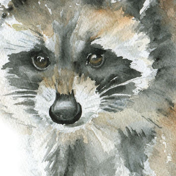 Raccoon Watercolor Painting Print Giclee - 11 x 14 - Nursery Art - Baby Animal