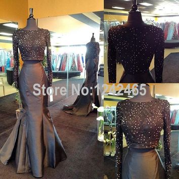 Sexy Mermaid Long Sleeves Prom Dresses 2 Piece Floor Length Zipper Back Top Lace Long Prom Dress 2016 With Beadings QM133