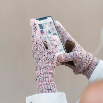 Knitted Texting Gloves - Confetti Pink