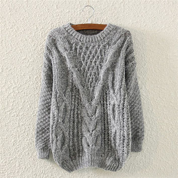 Grey Knit Pullover Sweater