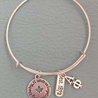 Silver Bracelet Inspired by Greek Charm Bracelet, Lavalier, Motto Est. 1872 - Alpha Phi Ivy Sorority Sister Pledge Gift   3