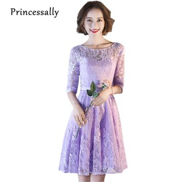 New Lilac Lace Bridesmaid Dresses Purple Half Sleeve Knee Length Special Oaccasion Elegant Prom Party Gown Rode De Soriee 2017