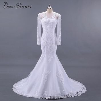 C.V Long Sleeves See Throught Back Elegant Mermaid wedding dresses vestido de noiva Lace Embroidery Bride wedding-dress W0217