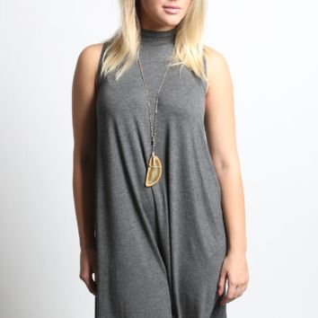 Mock Turtle Neck Knit Dress
