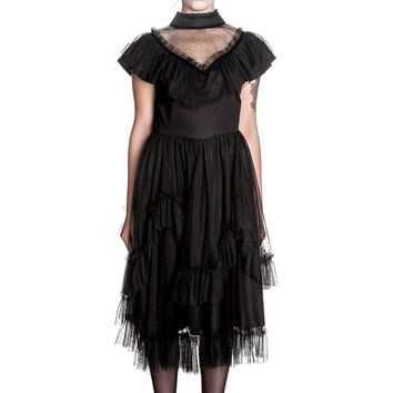 Vintage Victorian Gothic Steampunk Black Dots Lace Augustine Dress by Spin Doctor