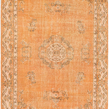 "5'7"" x 9'3"" Orange Turkish Overdyed Rug"