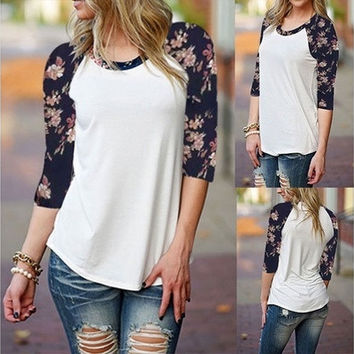 Women's Casual Floral Print Loose 3/4 Sleeve Splice Tops Blouse T-Shirts [8323379649]