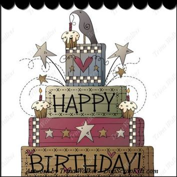Prim Birthday 1 Clip Art Single : Digi Scrap Kits - primitive, happy birthday, crows, blocks, cupcakes