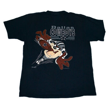 Vintage 1993 Looney Tunes Dallas Cowboys Taz Shirt Made in USA Mens Size Large