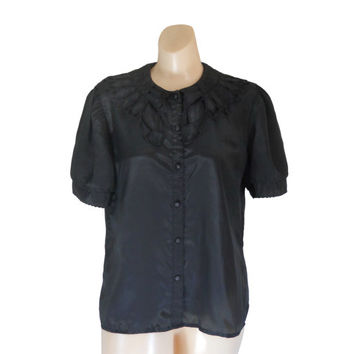 Black Blouse Women Black Shirt Short Sleeve Blouse Ladies Blouse Women Blouse Black Clothing Black Clothes Boho Chic Top Boho Blouse Funeral