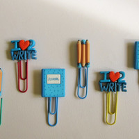 Writing Tools Paper Clips for Planners, Organizers, Filofax - Kids Bookmarks - Set of Two - Jumbo Paper Clips - For Journalists, Teachers