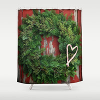 Country Christmas Wreath Shower Curtain by RDelean
